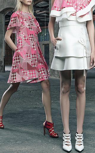 Duchess Lace Up Dress With Patchwork Bodice by ANTONIO BERARDI for Preorder on Moda Operandi