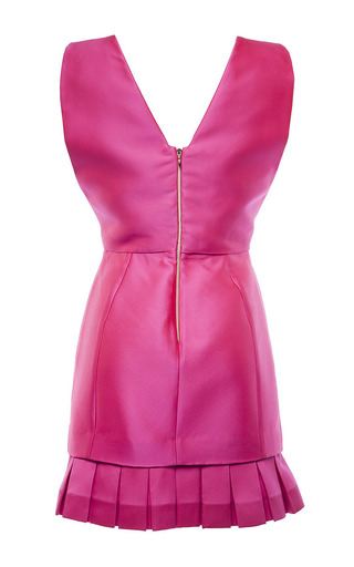 Magenta Duchess Satin V Neck Dress With Pleated Hem by ANTONIO BERARDI for Preorder on Moda Operandi