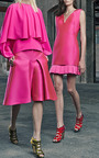 Magenta Duchess Satin V Neck Dress With Pleated Hem by ANTONIO BERARDI for Preorder on Moda Operandi