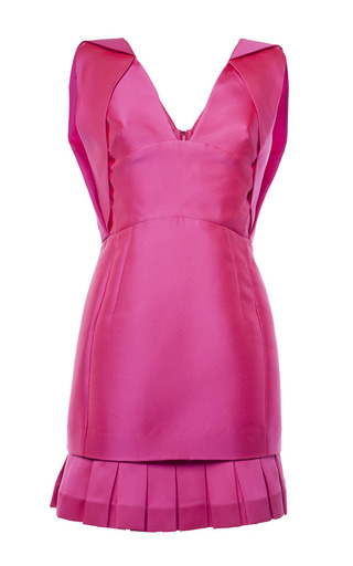 Medium antonio berardi pink magenta duchess satin v neck dress with pleated hem