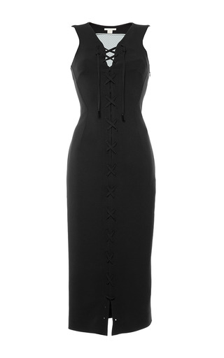Medium antonio berardi black black sleeveless lace up sheath dress