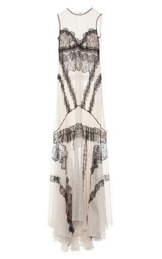 Medium antonio berardi black sleeveless ivory gown with black lace panels