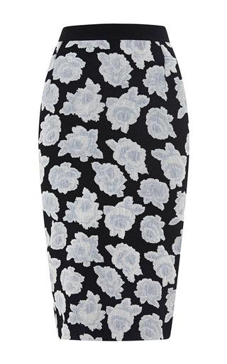 Medium nina ricci black flower printed mid skirt