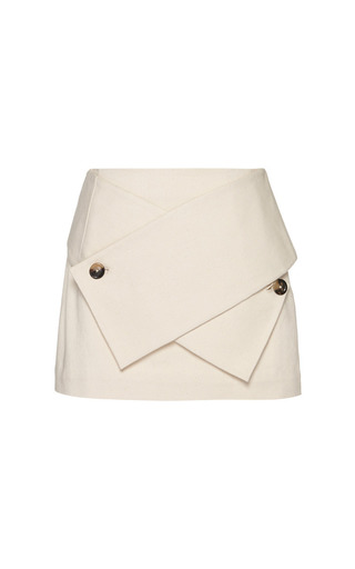 Medium j w anderson off white cotton drill mini wrap skirt