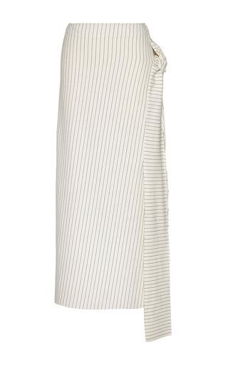 Medium j w anderson white pinstripe jersey knot skirt