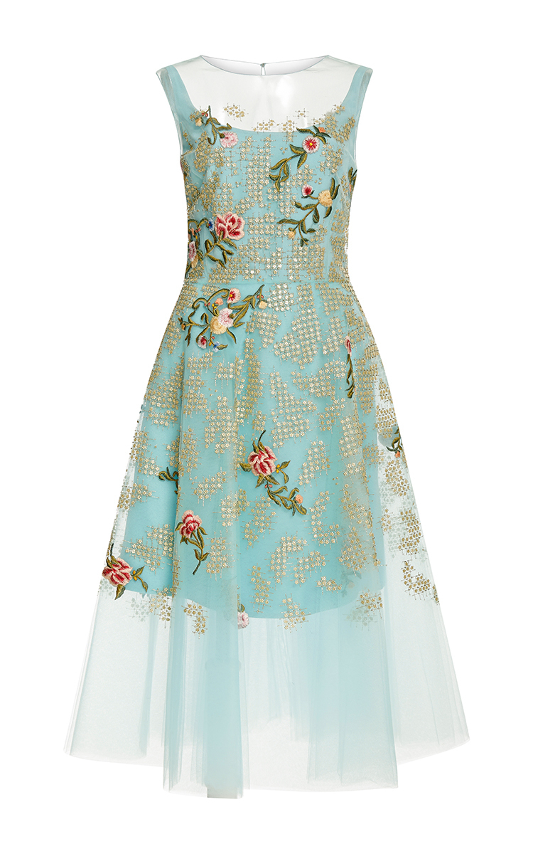Embroidered tulle dress by oscar de la renta moda operandi