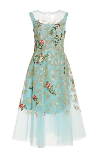 Medium oscar de la renta blue sleeveless illusion neck sequin threadwork embroidered dress