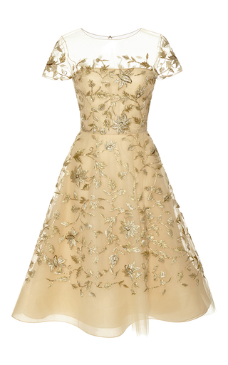 Medium oscar de la renta gold short sleeve illusion neck threadwork bead embroidered dress