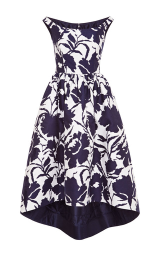 Medium oscar de la renta blue color block jacquard tea length dress