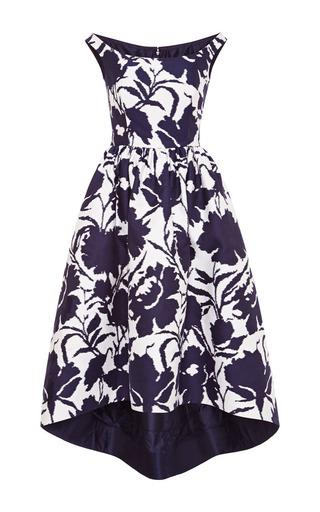 Medium oscar de la renta blue color block jacquard tea length dress