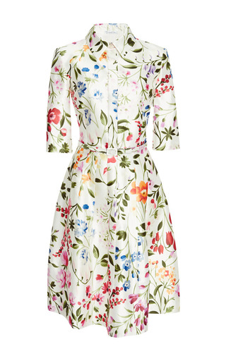 Medium oscar de la renta white elbow sleeve shirt dress with self belt