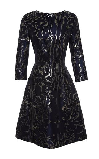 Medium oscar de la renta blue 34 sleeve split neck two pocket dress