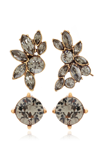 Medium oscar de la renta black navette crystal ear cuff