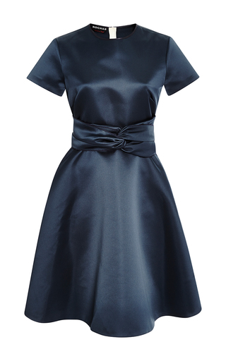 Medium rochas blue waist knot dress in dark navy