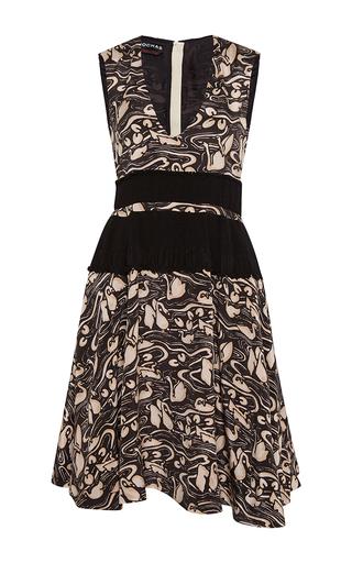 Medium rochas black v neck dress in swans print