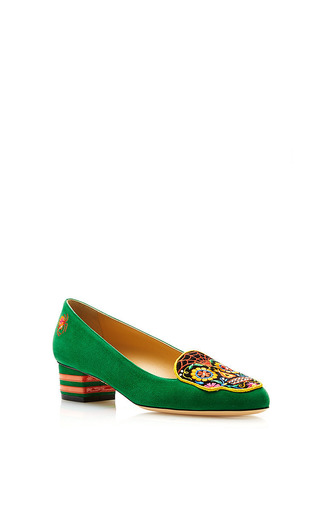 Medium charlotte olympia green day of the dead flat in botanic green
