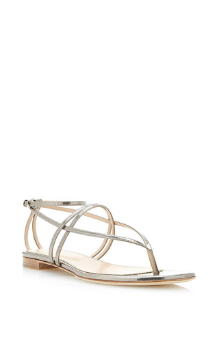 Medium sergio rossi gold shadows flat sandal