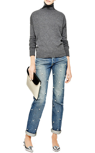 Faux Pearl Embellished Jeans by TU ES MON TRESOR Now Available on Moda Operandi
