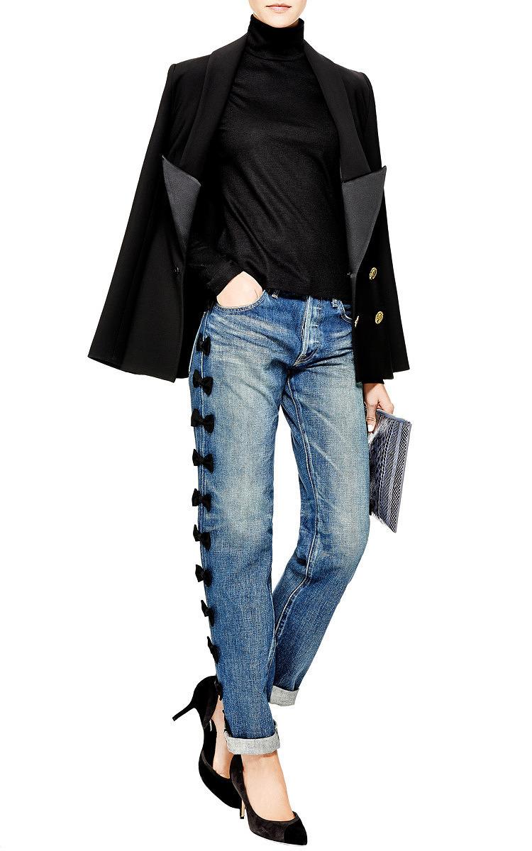 grosgrain bowtrimmed jeans by tu es mon tresor moda
