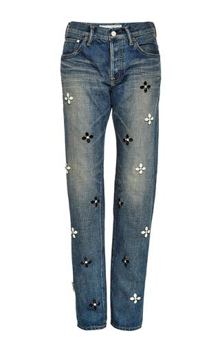 Medium tu es mon tresor blue antique jeans cotton long flower bijou