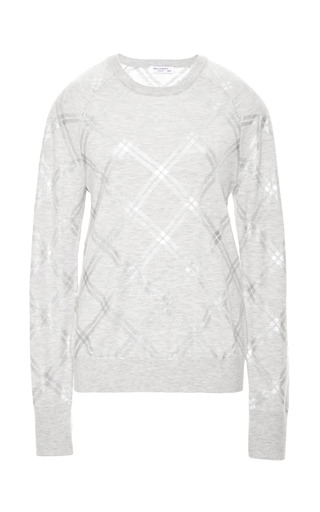 Medium equipment dark grey foil plaid print light heather grey sweater