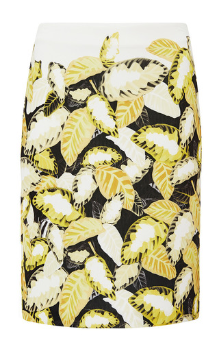Medium opening ceremony yellow daist printed leaves pencil skirt