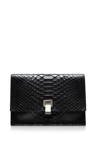 Medium proenza schouler black small lunch bag in black python