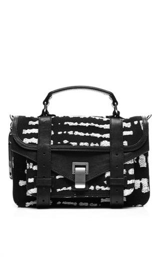 Medium proenza schouler multi ps1 tiny satchel in black white wood block jacquard