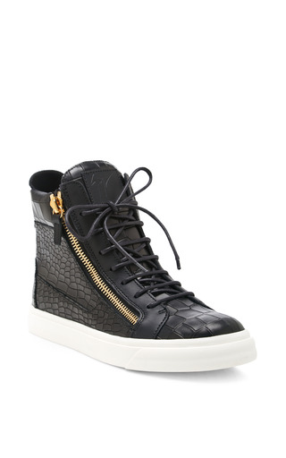 London Embossed Leather High Top Sneakers by GIUSEPPE ZANOTTI Now Available on Moda Operandi