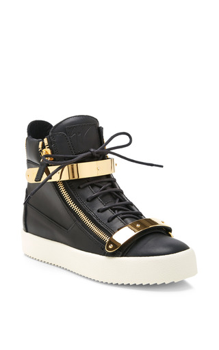 Medium giuseppe zanotti black birel wedged sneaker with gold plates