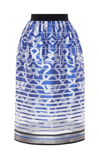 Medium ostwald helgason blue striped floral jacquard tea length skirt