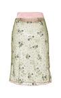 Floral Chartreuse Glitter Pencil Skirt by MARY KATRANTZOU Now Available on Moda Operandi