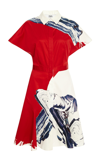 Medium prabal gurung multi short sleeve flared skirt shirtdress