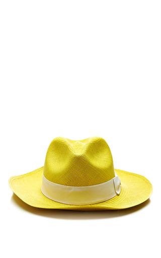 Medium sensi studio yellow panama hat classic style with italian bow in yellow and white