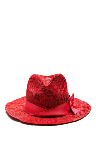 Medium sensi studio red panama hat crochet semi bow band in redfuxia