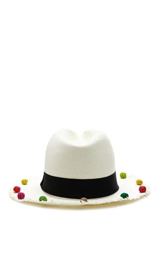 Pom Pom Trimmed Classic Panama Hat by SENSI STUDIO Now Available on Moda Operandi