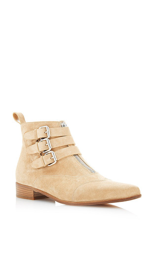 Medium tabitha simmons brown early bootie in sand split calf suede