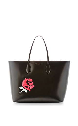 Medium rochas black black tote with a rose