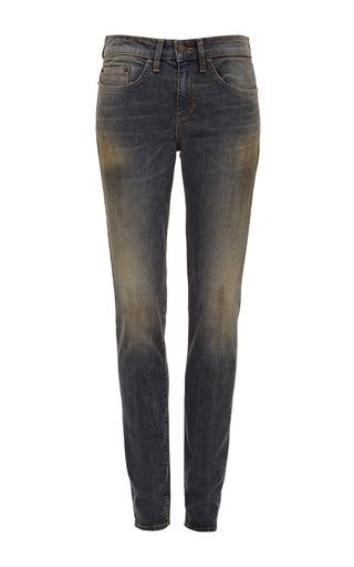 Medium 6397 denim black dirty faded bw stripe loose skinny jeans