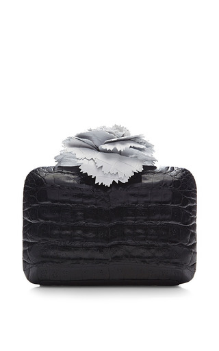 Monochrome Crocodile Skin Clutch by NANCY GONZALEZ for Preorder on Moda Operandi