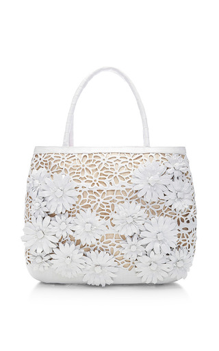 Medium nancy gonzalez white white crocodile skin and raffia tote