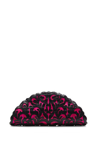 Black And Pink Crocodile Skin Clutch by NANCY GONZALEZ Now Available on Moda Operandi