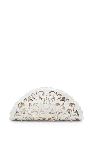 White And Gold Crocodile Skin Clutch by NANCY GONZALEZ Now Available on Moda Operandi