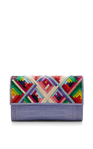 Medium nancy gonzalez multi rainbow and lavender crocodile skin clutch