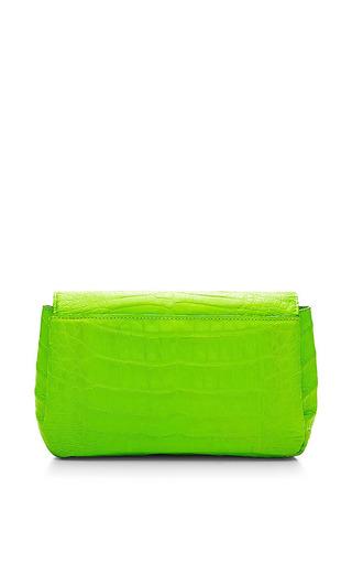 Neon Lime Crocodile Skin Shoulder Bag by NANCY GONZALEZ for Preorder on Moda Operandi