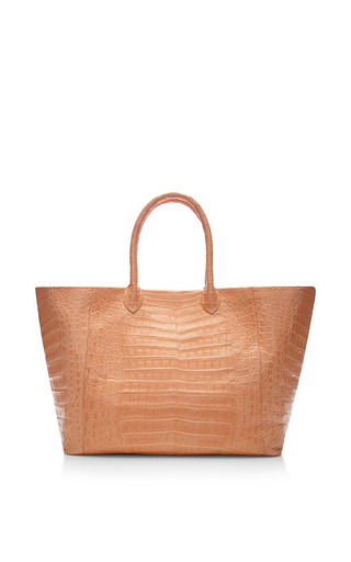 Medium nancy gonzalez nude peach crocodile skin tote