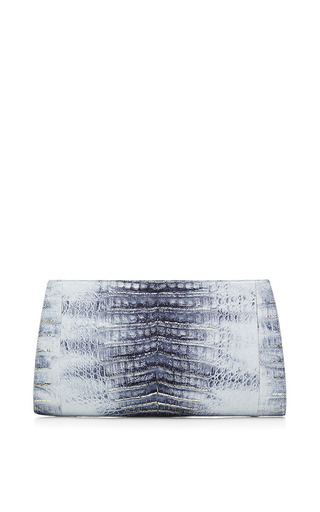 Medium nancy gonzalez silver metallic crocodile skin clutch in denim blue