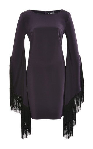 Medium haney purple above the knee aubergine long sleeve dress with fringe detail and closed back