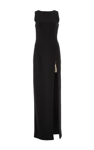 Medium haney black mo exclusive long black gown with gold embroidery