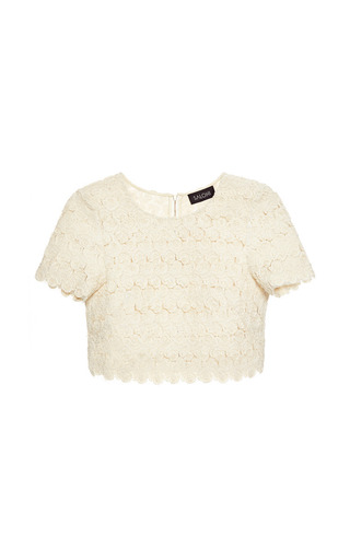 Medium saloni white marie crop cotton blend